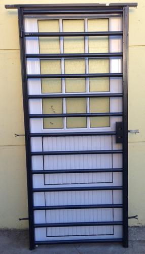 Puerta Reja Tubo Horizontal  Marco De Caño Cuadrado Seguridad Con Cerradura De 80x200 Línea Eco Tubo De 0.9mm