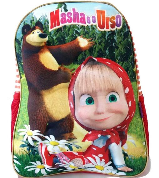 Mochila Infantil Masha E O Urso 3d Tam G Costas Frete Grátis