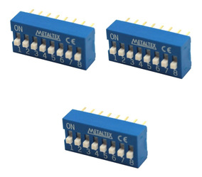 3 Chave Dip Switch 8 Vias 180° Azul Arduino Protoboard Pic