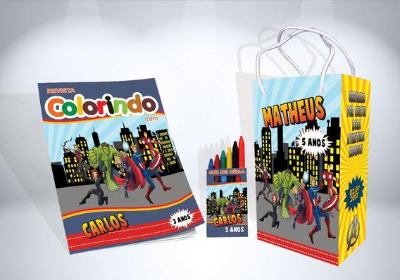 50 Kit Colorir Os Vingadores Revista Sacola Lembrança