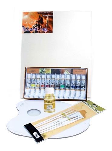 Kit Arte Bastidor 25 X 35 Oleo X 12 Paleta Pinceles Y Linaza