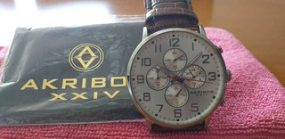 Reloj Con Cronógrafo Akrivios Xxiv Malla Marron. Usado.