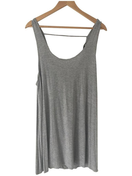 Vestido Gris Melange Espalda Drapeada Importado Forever 21