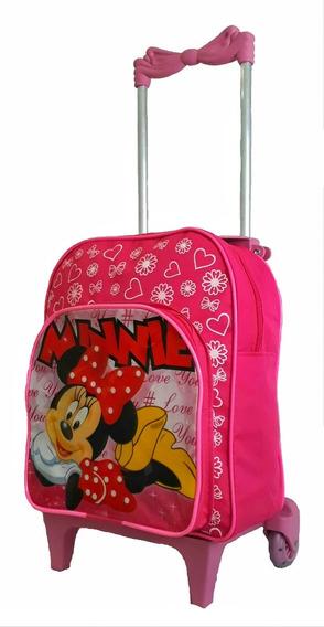 Bolsa Escolar Creche Mochila Infantil Minnie Lancheira Kit P