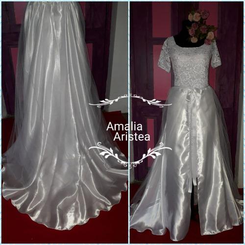 Promo! Vestido + Falda En Raso Casamiento Civil E Iglesia