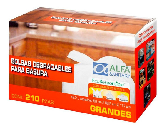 Bolsa De Basura Grande 49.2lt Blanca 60 X 68.5cm 210 Pzas