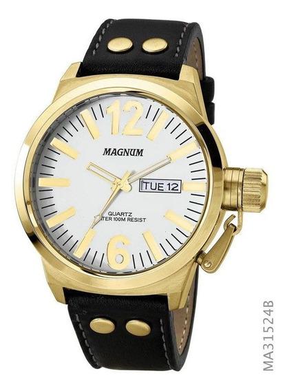 Relógio Magnum Masculino Dourado E Branco Couro Ma31524b