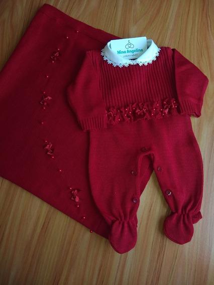 Saída Maternidade Tricot- Menina Vermelho Laços E Pérolas