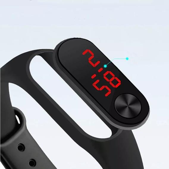Relógio Preto Esportivo Digital Bracelete Led Masculino Fem/