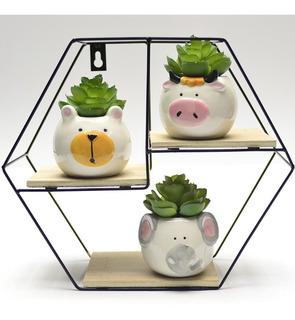 Kit Decoração Prateleira + 3 Mini Vasinhos Animais Porcelana