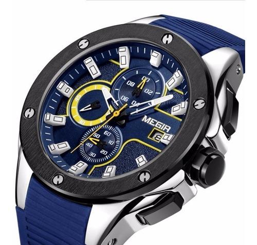 Relógio Masculino Esportivo Megir 3d Presente + Super Brinde