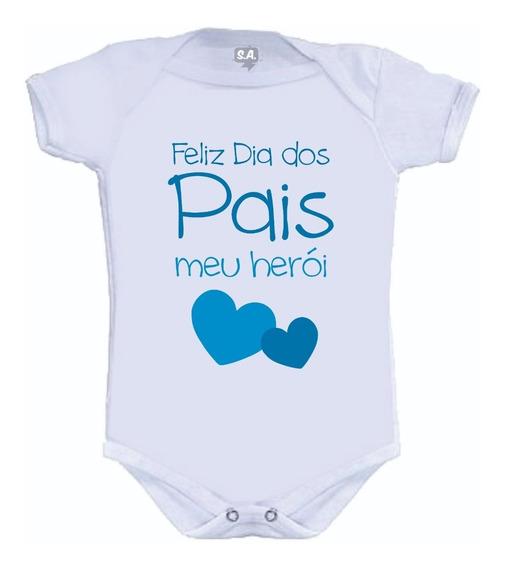 Body Feliz Dia Dos Pais Meu Herói Menino - Dia Dos Pais