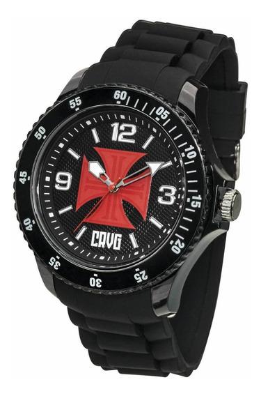 Relógio Oficial Do Vasco Cruz De Malta - Preto + Chaveiro De