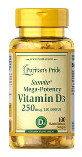 Vitamina D3 10.000iu C/100 Softgels Puritan