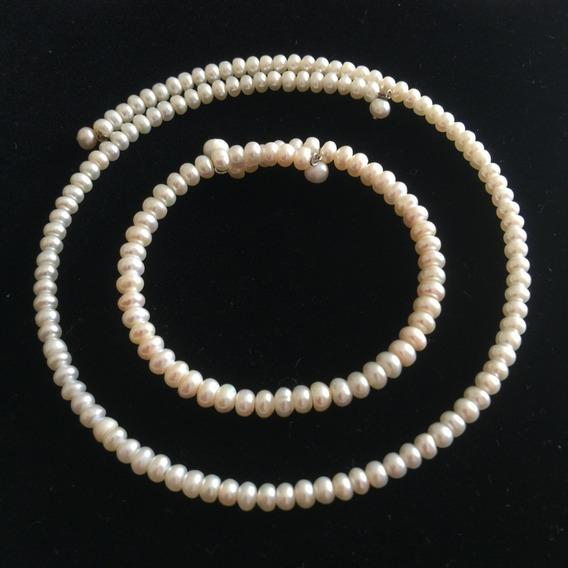Gargantilla Y Pulsera De Perlas Blanco - P3rlas