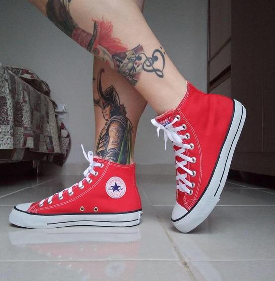 Tênis Converse All Star Vermelho Cano Alto