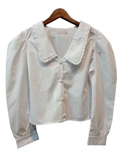 Camisa Tricoline Com Babado E Botão