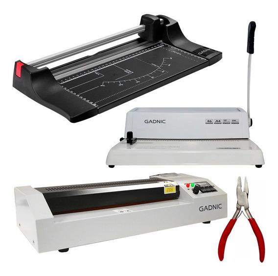Kit Anilladora A4 + Laminadora A3 + Guillotina A4 Libreria