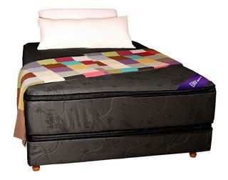 Sommier Colchon 2 Plazas Doble Pillow Espuma Alta Densidad
