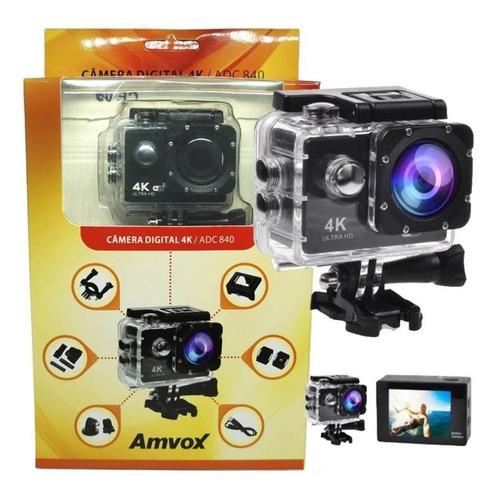 Câmera Digital 4k Adc 840 Amvox Com Case A Prova D´água