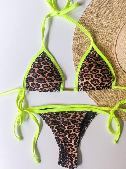 Biquini Neon Verde Animal Print Cortininha Marrom P M G Moda