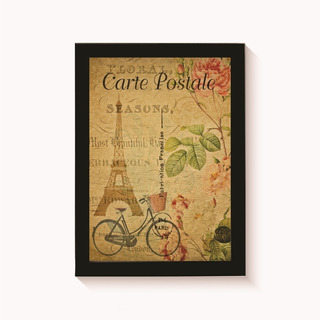 Quadro Cartão Postal Paris Decoração Vintage Poster 30x20cm