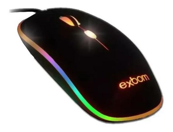 Kit 10 Unidades Mouse Gamer Luminoso Exbom - Atacado