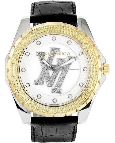 Relógio Victor Hugo, Pulseira Couro Preta