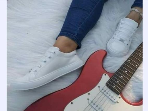 Zapatillas Ecocuero Blancas Mujer.
