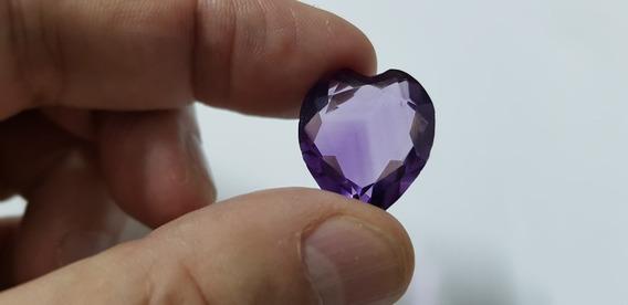 Pedra Preciosa Natural Ametista 21,2 Quilates Forma Coração