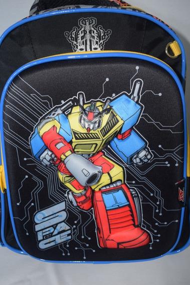 Mochila 3 D Escolar Infantil Menino Kit 2 Peças Robot Force