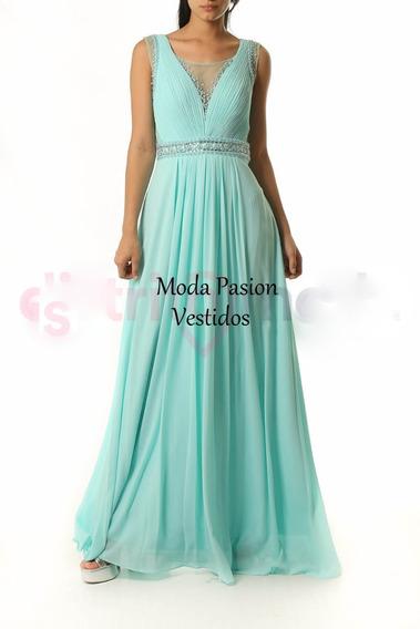 Vestido Largo Elegante Gasa Bordado Pedreria Moda Pasion