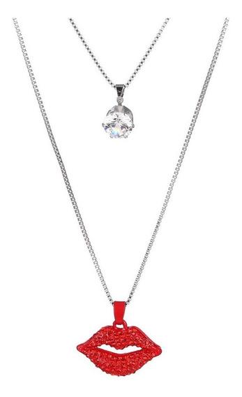 Collar De Labios Rojos De Cristal Swarovski