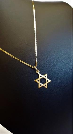 Cordão De Ouro 18k Piastrine 50cm C/pingente Estrela De Davi