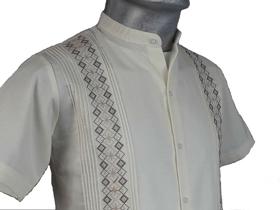 Guayabera Cuello Mao De Lino Filipina Yucateca Bordada Flame