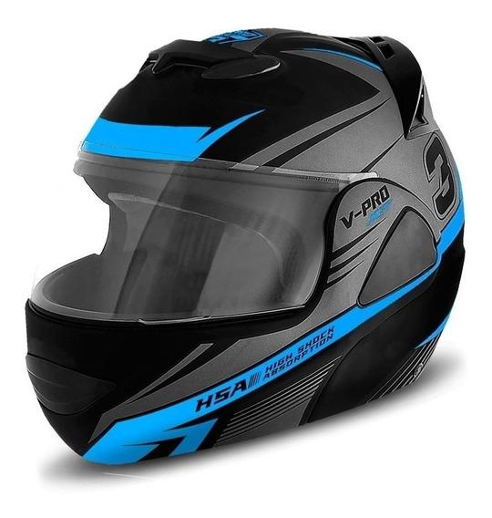 Capacete para moto escamoteável Pro Tork V-Pro Jet 3 cinza/azul-celeste XL