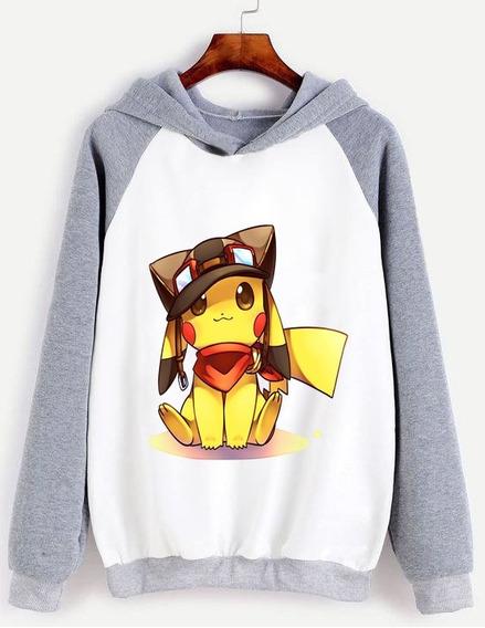 Buzo Unisex Pikachu Con Gorrito Tierno Anime