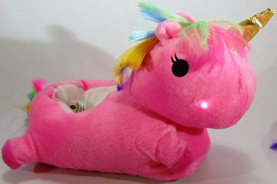 Pantuflas Unicornio Con Leds Mira El Video !!!! 24/40 Rosa