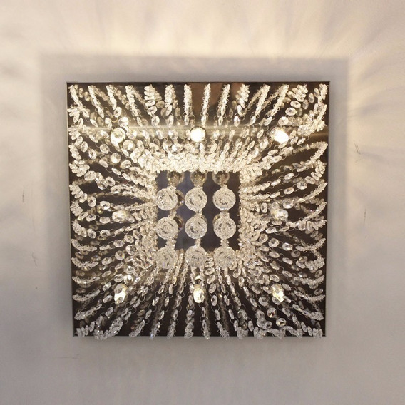 Lustre Plafon De Cristal K9 Quadrado 27x27 C/ G9 Led Gratis