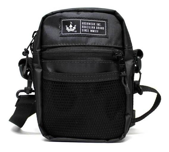 Shoulder Bag Hoshwear Média Preta Tecido Impermeável