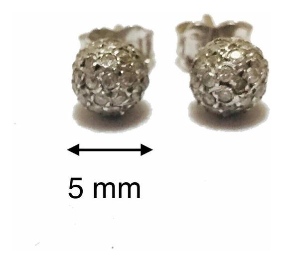 Brinco Ouro Branco 18k Com Esfera De Diamantes.