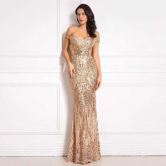 Vestido Longo Paetê Dourado