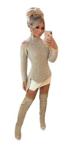 Blusa De Frio Tricot Feminino Gola Alta Ombro De Fora