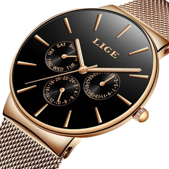 Relógio Lige 9868 Unissex Rosê De Luxo Pulseira Fina