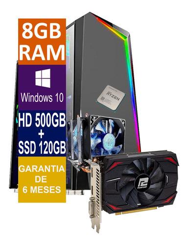 Pc Gamer Cpu Ryzen 7, 8gb, Hd 500gb + Ssd 120gb, Rx 550 4gb