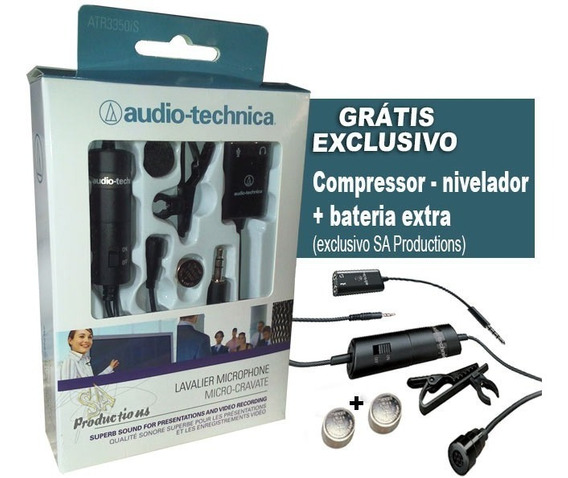Microfone Lapela Atr 3350is Audio-technica Profissional Pc+