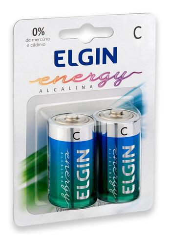 Imagem 1 de 4 de 02 Pilhas C Média Lr14 Alcalina Elgin 1 Cartela