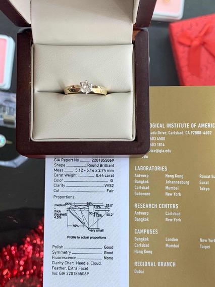 Anillo De Compromiso Diamante Certificado Gia .44ct G Vvs2