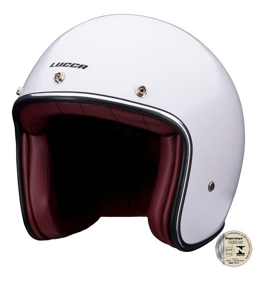 Capacete Glossy Pearl White Lucca Custom Com02 Viseiras Aba