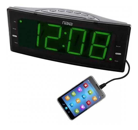 Rádio-relógio Digital Fm Com 2 Alarmes E Saída Usb Nrc-166
